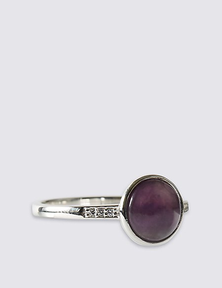 Sterling Silver Ring with Domed Cabochon Amethyst & Cubic Zirconia Stones