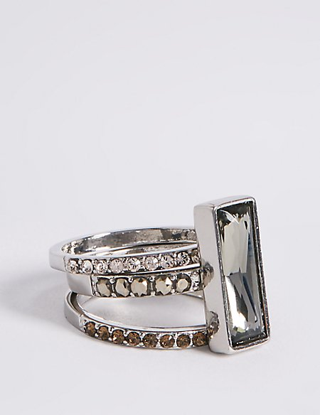 Statement Baguette Stacker Diamanté Ring MADE WITH SWAROVSKI® ELEMENTS