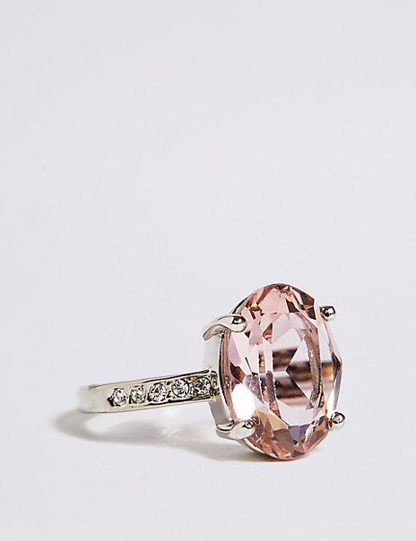 Platinum Plated Diamanté Oval Pavé Ring
