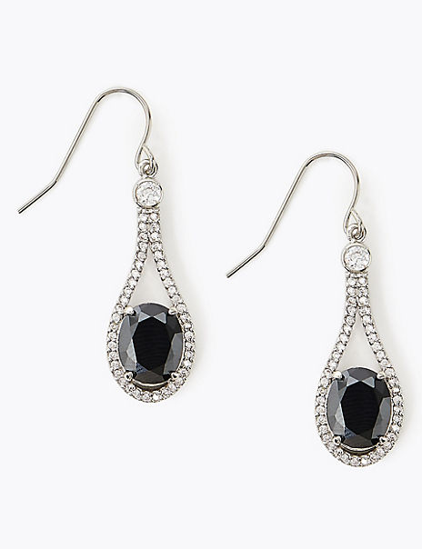 Platinum Plated Onyx Drop Earrings