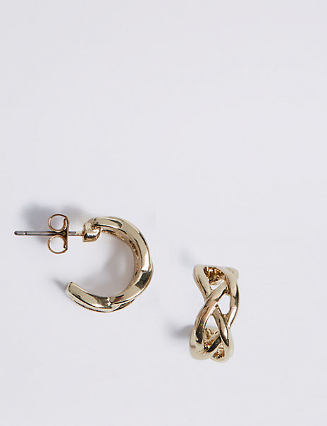 Gold Plated Criss-Cross Hoop Earrings