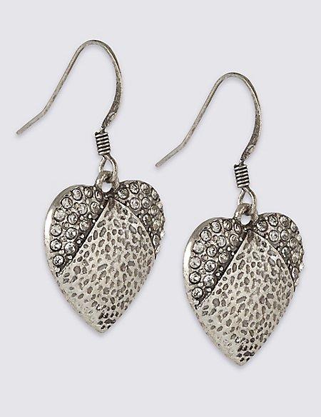 Glamour Heart Diamanté Drop Earrings