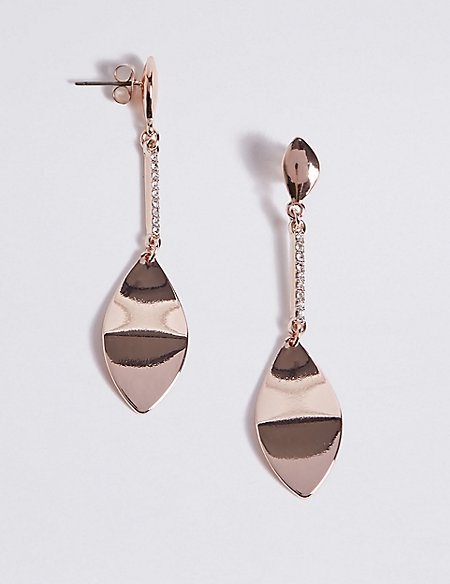 Pave Leaf Twist Earrings