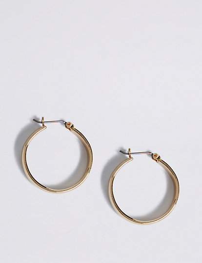 Gold Plated Simple Hoop Earrings   Jewelry   Marks and