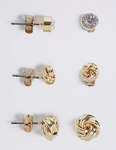 Gold Plated Assorted Mixed Knot Sparkle Trio Earrings Set
