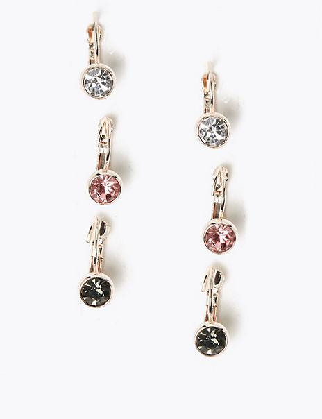 3 Pack Crystal Earrings