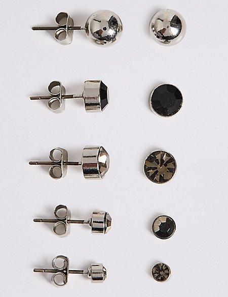 5 Pack of Stud Earrings Set