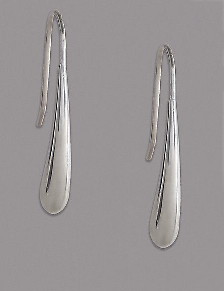 Sterling Silver Sleek Loop Drop Earrings