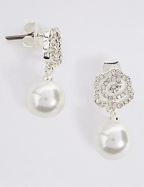 Pearl Effect Sparkle Flower Earrings