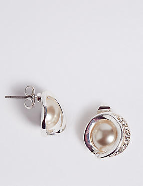 Swirl Pearl Stud Earrings
