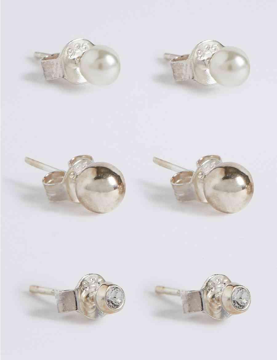 3 Pack Sterling Silver Stud Earrings Set