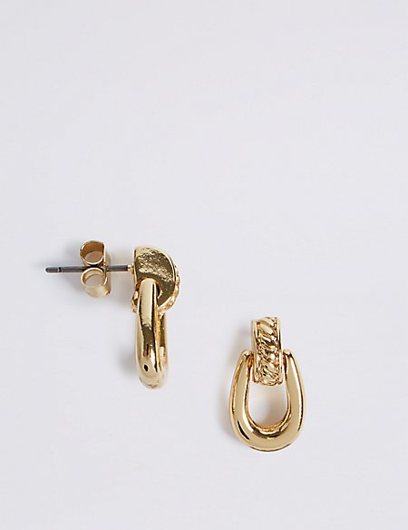 Gold Plated Loop Drop Earrings