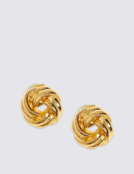 Gold Plated New Knot Stud Earrings