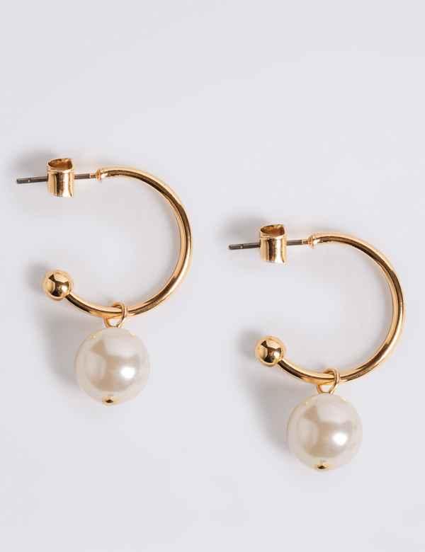 1dd799df9 Pearl Drop Hoop Earrings