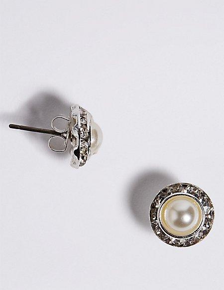 Pearl Effect Crystal Circle Stud Earrings