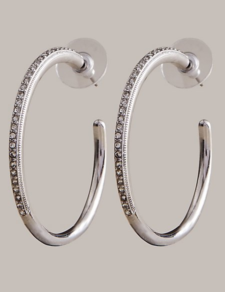 Diamanté Fine Line Hoop Earrings