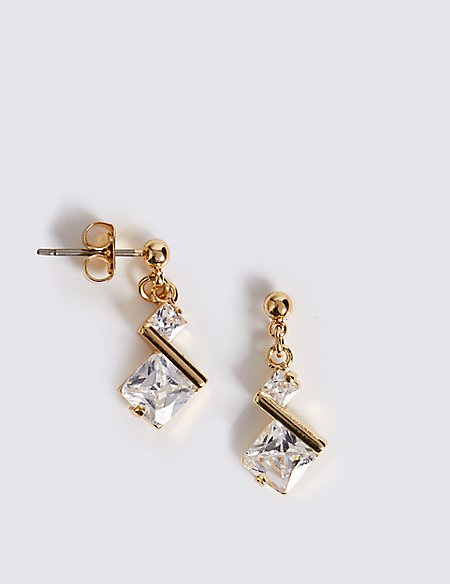 Angle Stone Drop Earrings