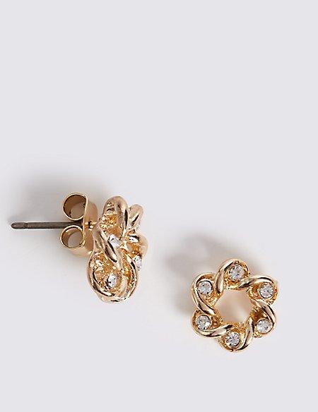 Spiral Flower Floral Stud Earrings