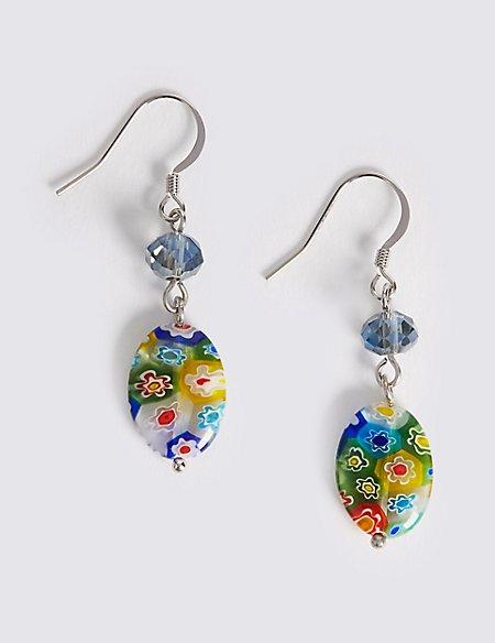 Floral Bead Drop Earrings