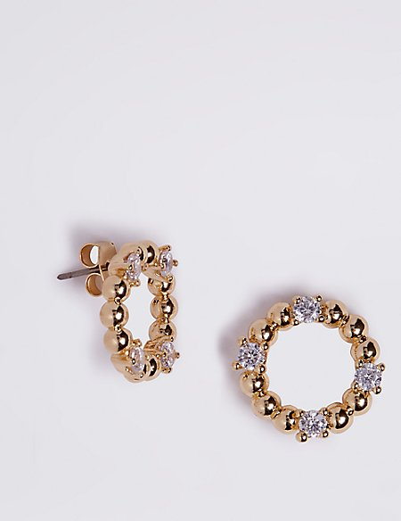 Gold Plated Sparkle Circle Earrings