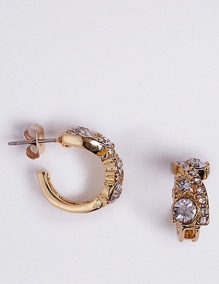 Gold Plated Sparkle Hoop Earrings
