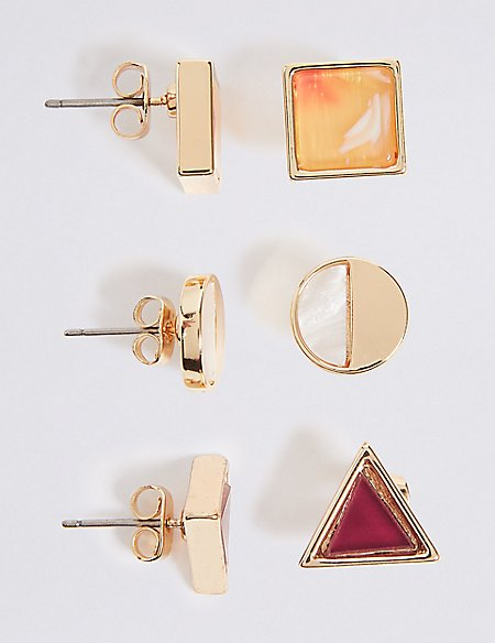 Mixed Shapes Stud Earrings Set