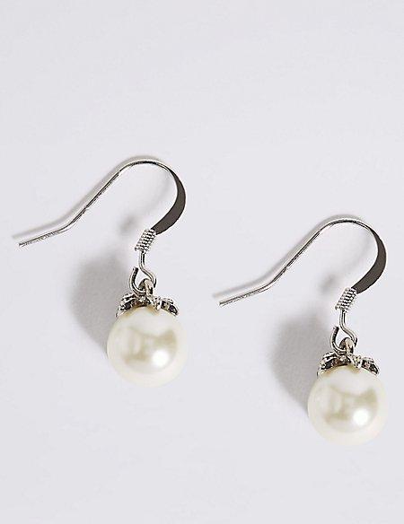 Pearl Effect Floral Diamanté Drop Earrings