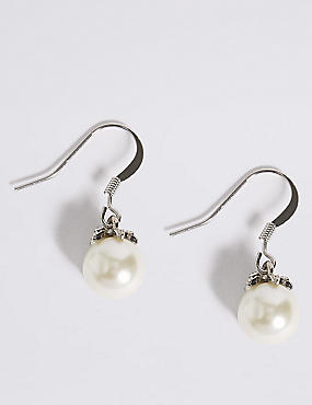 Pearl Effect Floral Diamanté Drop Earrings