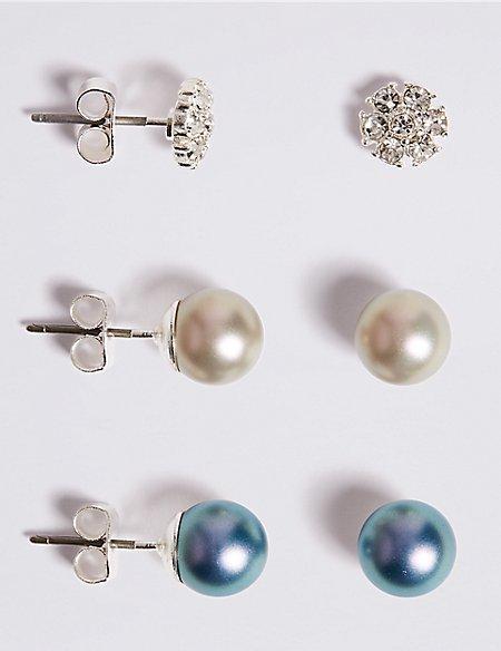 Pearl Effect Stud Earrings Set