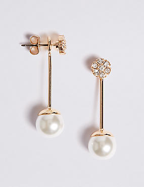Flower Pearl Front & Back Earrings