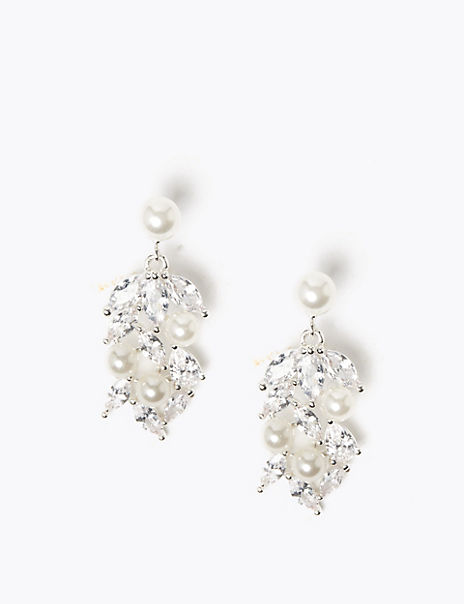 Pearl Effect Crystal Leaf Drop Earrings