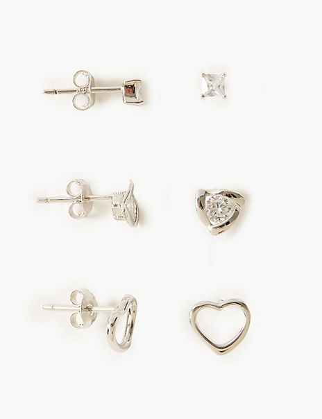 Sterling Silver Stud Earrings Set