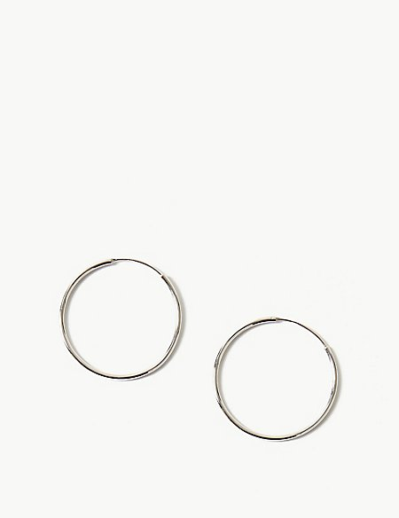 Sterling Silver Modern Hoop Earrings