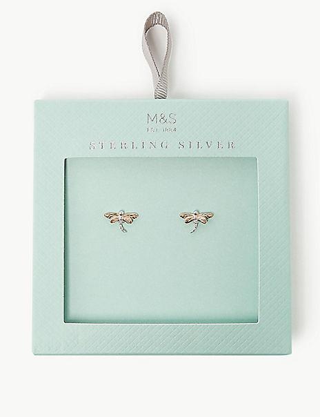 Sterling Silver Dragonfly Stud Earrings