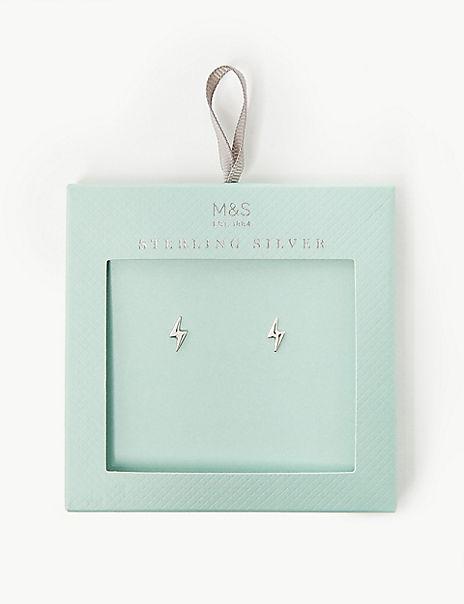 Sterling Silver Lightning Stud Earrings