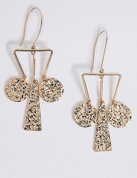 Triangle Dented Charm Drop Earrings