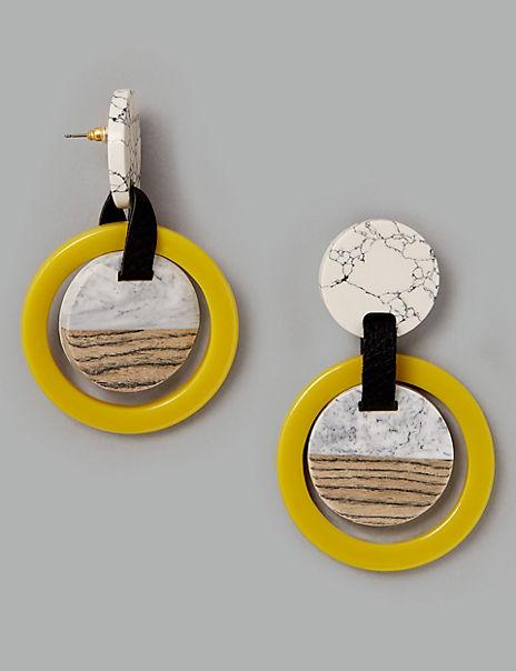 Marble Circle Drop Earrings