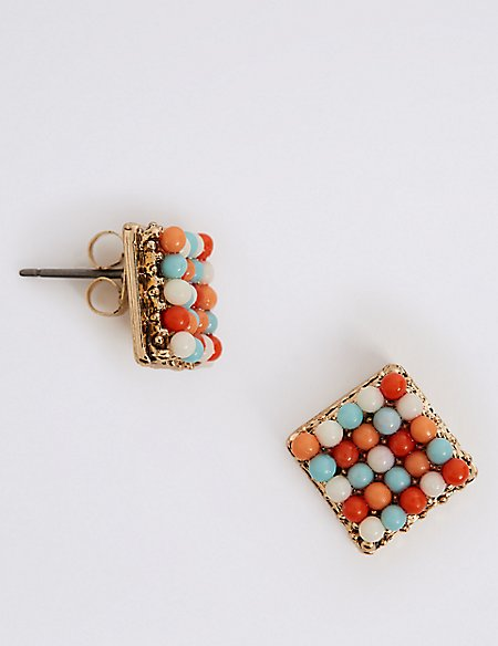 Beaded Mosaic Tile Studs Earrings