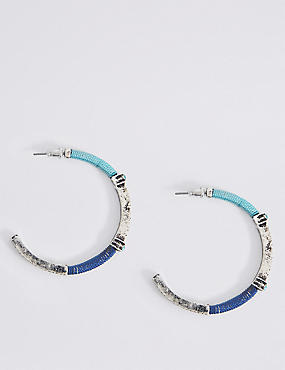 Wrapped Stone Hoop Earrings