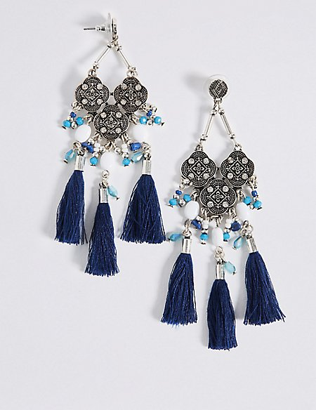 Filigree Tassel Drops Earrings