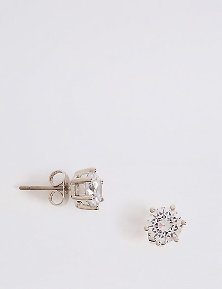 round white gold top stud earrings platinum studs four prong view diamond