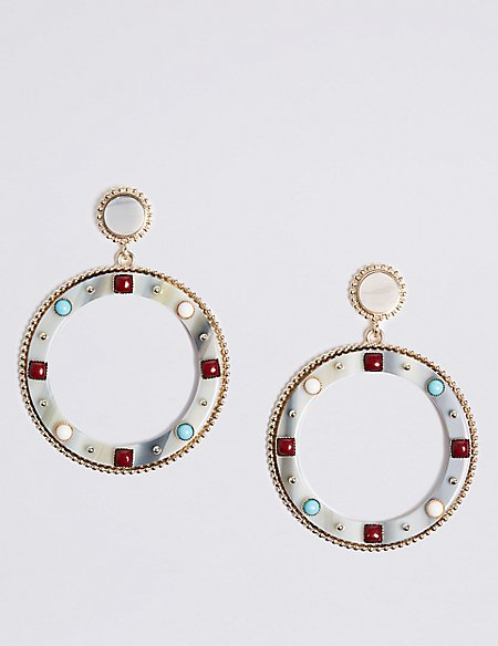 Mini Gems Statement Hoop Earrings