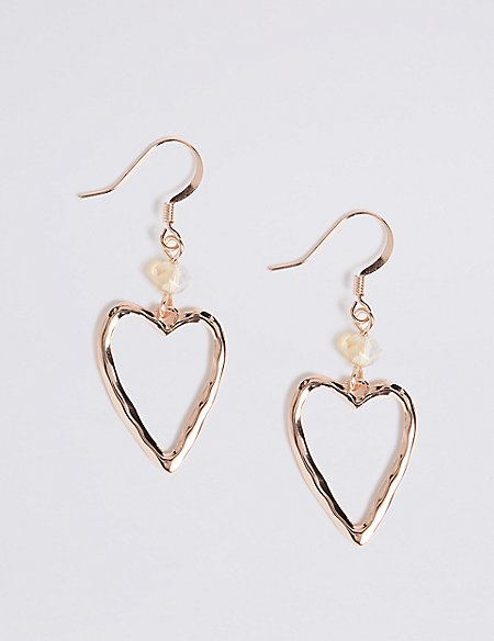 Beaten Heart Drop Earrings