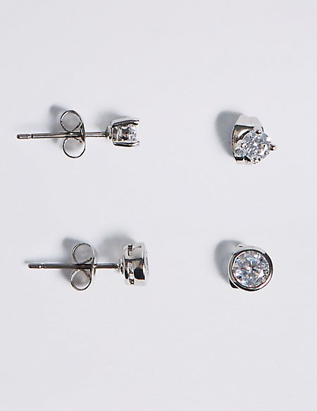 Platinum Plated Diamanté Stud Earrings Set