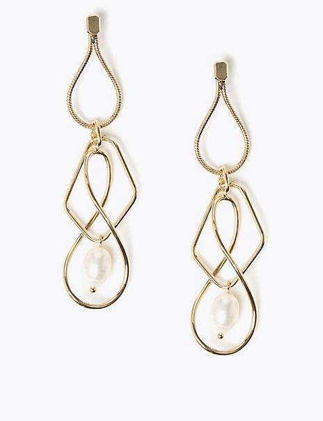 Spiral Pearl Drop Earrings