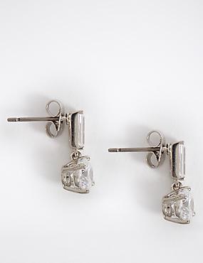 Platinum Plated Baguette Drop Earrings