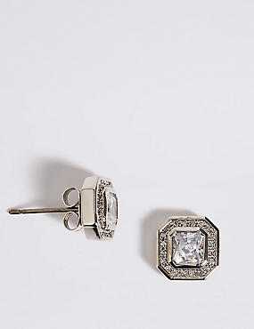 Platinum Plated Diamanté Stud Earrings