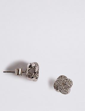 Platinum Plated Diamanté Stud Earrings