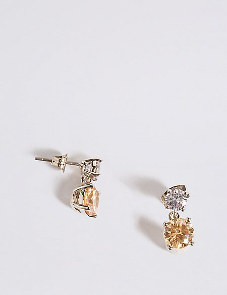 Platinum Plated Drop Earrings