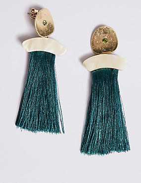 Stone Tassel Drop Earrings